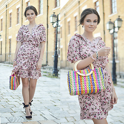 Tamara Bellis - Shein Floral Wrap Dress, Gamiss Rainbow Bag, Asos Espadrilles, Victoria Emerson Bracelet - Floral Wrap Dress and The Prettiest Rainbow Bag