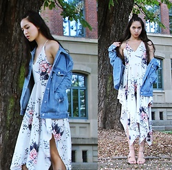 Tram Anh - Denim Jacket, Floral Dress, Aldo Gladiator Strappy Heels - The Merry Jester