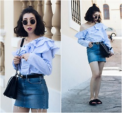 Theoni Argyropoulou - Pull & Bear Sunglasses, Shein Striped Ruffle Top, Mango Denim Skirt, H&M Belt, Slides - Striped Ruffled Top on somethingvogue.com