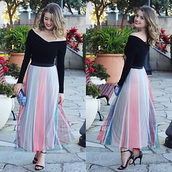 Heidi Landford - Maje Rainbow Pleated Skirt, Forever New Off The Shoulder Sweater, Forever New Black Heels, Forever New Jewelled Choker, Mimco Marbles Clutch - Just a kid