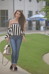 Monika Sanguinetti -  - Strapless Striped Off-Shoulder Milly Top