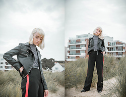 Peaches - New Look Red Panel Wide Leg Trousers (Diy), Monki High Neck Striped Top, Boohoo Moto Leather Jacket - Red Panel Wide Leg Trousers