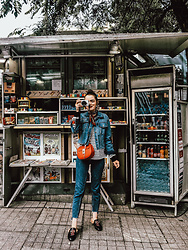 Andreea Birsan - Denim Jacket, Two Tone Step Hem Mom Jeans, Embroidered Mules, Red Crossbody Bag, Stripe Top, Silk Scarf - Playing tourist in Istanbul