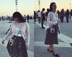 Nika Rema - Zara Skirt, Zara Bag, Mango Cardigan, Zara Boots, Zara T Shirt - Evening in Lisbon