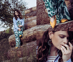 Jules - Bershka Shirt, H&M Pants, H&M Shoes, Mango Earrings, Mango Top - Connecting with Nature