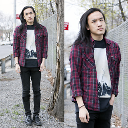 Xanthium James - Urban Outfitters Salt Valley, American Apparel Oathbreaker Tee, Cheap Monday Ripped Knee, Dr. Martens Boanil Brush - 请注意