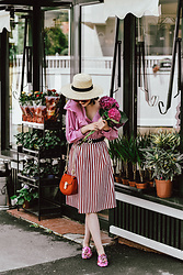 Andreea Birsan - Pink Frilled Shirt, Striped Midi Skirt, Gucci Belt, Red Bag, Embroidered Mules, Boater Hat - The Parisian lady