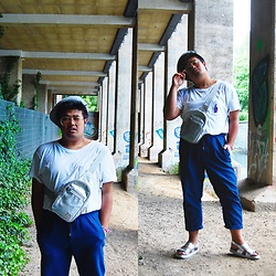 Gabriel Lenggoe - Humana Secondhand Store Germany Bag, H&M Tees, H&M Pants, Primark Sandals, Zara Glasses, Monki Hat - Silver sandals and bag!