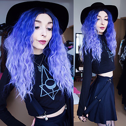 Kimi Peri - R + W Order Of The Moon Crop Top, R + W Necklace, Black Milk Clothing Matte Pinafore Pocket Skater Skirt, Skoot Apparel Fishnet Tights, Uniwigs Lavender Dawn, R + W Black Matte Rings, H&M Witchy Hat - Order of the Moon