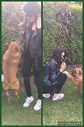 Isabel - Converse Superstar Pink, Supertrash Blach Jeans, H&M The Darkness Inside Bikerjacket, H&M V Shirt Black, Phil? My Lovely Doggie - Playing with the cutest dog / Friend