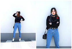 Bárbara Marques - Lefties Sweater, Aly John Jeans, Suiteblanco Mules, Mango Bag, Primark Belt, Primark Scarf - MOM'S BACK