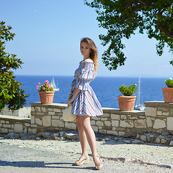 Tamara Bellis - Gamiss Off Shoulder Striped Dress, Zaful Basket Bag, Victoria Emerson Bracelet, Migato Sandals - Windy Sunday in Corfu