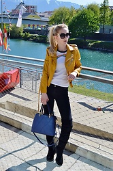 Isobel Thomas - Zaful Blue Handbag, Zara Jacket - Spring Uniform