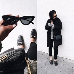 Tiffany Wang - Gucci Loafers, Zara Pants, Gucci Purse, Topshop Sweater, Le Specs Sunglasses, Everlane Coat - CAT EYE