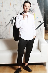 Matteo Peretti - Zara White Shirt, Imperial Black Pants, Dr. Martens Shoes, Saint Laurent Blazers - Wedding day