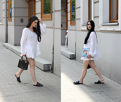 Justyna Lis - Gucci Loafers, Mango White Dress, Zara Black Bag - My first time (with a white dress)