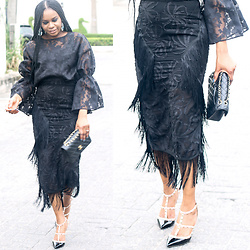 Monica Awe-Etuk - Lace And Fringe Skirt, Lace Blouse - AWED BY MONICA: LACE IN LAGOS