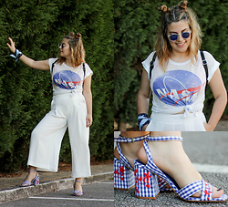 Zazu's World - Stradivarius Gingham Sandals, Mango Culottes, Blue Round Sunglasses, Bershka Black Backpack, Zalando Nasa Tee - Space