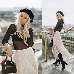 Sarah Loven - Urban Outfitters Black Beret, Brandy Melville Usa Sheer Glitter Top, Matisse Footwear Boots, Bebe Black Purse, Spell Designs Creme Lace Skirt - Printemps
