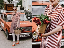 Andreea Birsan - Striped Shirt Dress, Orange Suede Slingbacks, Straw Bag, White Suit Pants, Earrings, Red Cat Eye Sunglasses - The striped dress