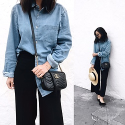 Tiffany Wang - Urban Outfitters Shirt, Gucci Purse, Zara Culottes, Free People Hat, Le Specs Sunglasses, And Other Stories Heels - DENIM SHIRT