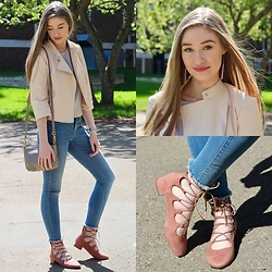 Taylor Doucette - Zara Pastel Pink Leather Jacket, Old Navy Raw Hem Jeans, H&M Ghille Flats - Knocking at the Door- Arkells
