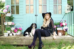 Charlotte Clothier - Black Primark Heels, Topshop Polka Dot Ruffle Dress, Topshop Black Hat - It feels like Summer!
