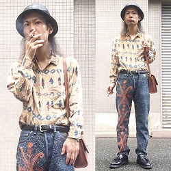 @KiD - Vintage Egypt Shirts, Levi's® Crazy Levi's 501, Coach Brown Bag, Dr. Martens Tassel Loafer, Newyork Hat Leather - Japanese Trash140