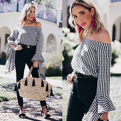 Maria De La Cruz - Haute & Rebellious Gingham Off Shoulder Dress, H&M Pom Pom Basket Bag, Haute & Rebellious Statment Earrings - ALL ABOUT GINGHAM