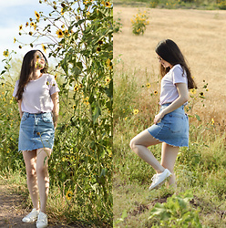 Xaydy Gambino - Bershka Demin Skirt, More On - Sunflowers season