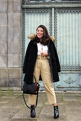 Joana Sá - H&M Earrings, Zara Coat, Zara White Shirt, Daniel Wellington Watch, Zara Pants, Parfois Bag, Zara Boots - Rainy spring
