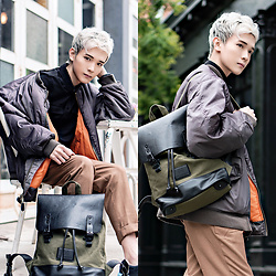 Dake Hu - Gaston Luga Backpack, Topman Pants, Vintage Shop Bomber, Topman Shirt - Gaston Luga