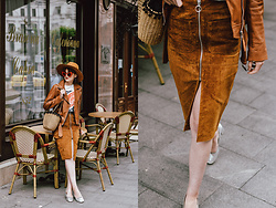 Andreea Birsan - Camel Suede Zip Front Midi Skirt, Camel Leather Jacket, Camel Fedora Hat, Straw Bag, Silver Metallic Pumps, Coke Tee, Red Cat Eye Sunglasses - Parisian mood