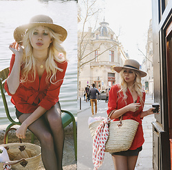 Sarah Loven - In Your Arms Red Blouse, 66 The Label Straw Hat, Realisation Par Kisses Scarf, Zara Black Skirt, Paris Street Shop Basket, Five & Two Gold Necklace - Tuileries