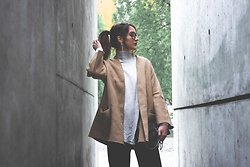 Jade Sheils - Zara Camel Wool Jacket, River Island Beige Ribbed Turtle Neck, Primark Circle Earrings, Michael Kors Quilted Leather Bag, River Island Black Culottes - Neutral Chic