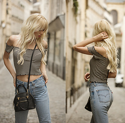 Sarah Loven - Brandy Melville Usa Off The Shoulder Striped Top, Levi's® Vintage Levis, Bebe Black Purse - Moi Je Joue