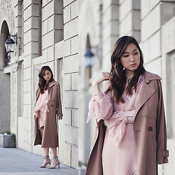 Maggie Chan - Michelle Mason Trench, Michelle Mason Pink Slip Dress - HOW TO GET BRANDS TO WORK WITH YOU