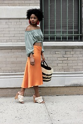 Monroe Steele - Katerina Makriyianni Earrings, Zara Top, Tibi Skirt, Tibi Shoes, Shopbop Bag - Vacation Ready