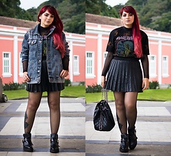 Camilla Marques - Ebay Leather Pleated Skirt, Zara Iron Maiden Shirt, Zara Boots - I'll Die With My Boots On