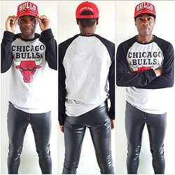 Thomas G - Ross Dress For Less Chicago Bulls, Adidas Chicago Bulls, H&M Faux Leather Pants, Netrobe - Chicago Bulls