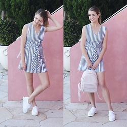 Heidi Landford - Zulu And Zephyr Dress, Superga Flatform Sneakers, Forever New Backpack - Total Keeper