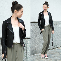 Claire H - Zara Leather Jacket, H&M Pants, Charlotte Olympia Heels - Sophisticated