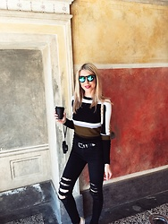 Zuzana - J Brand Black Distressed Jeans, H&M Striped Sweater, Illesteva Mirror Sunglasses - Edgy