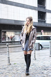 Franziska Elea - New Look Rain Coat, Zara Skirt, Dr. Martens Boots - Rainy Days