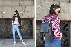 Jelena Dimić - Romwe Round Sunglasses, Shein Velvet Bomber Jacket, Rosegal Tie Up Choker, Romwe Nouveau Grunge T Shirt, Shein Color Block Jeans, Zaful Backpack, Slip On Flats - Feel your eyes, they all over me