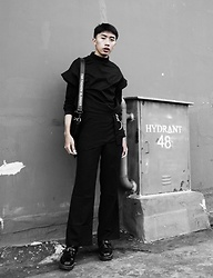 Kiko Kim - Someday Black Ruffle Shirt, Cloth Inc Black Bianca Pants, Uniqlo Black Turtleneck Top - Gloomy | ig @xrzkix