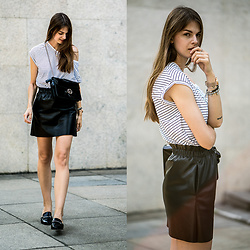 Jacky - Zara Skirt, Zara Shirt, Gucci Bag, Marks & Spencer Shoes - Leather Skirt x Striped Shirt