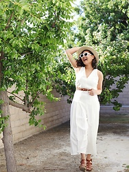 Melissa T. - Cobain Sunnies, Asos Jumpsuit With Pleated Culotte And Back Detail, Xhilaration Wedges - Old Hollywood