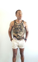 Thomas G - L.L.Bean Cuffed Shorts, Csg (Champs Sports Gear) Camouflage Tank Top, Rasta Necklace, Cross Bracelet, Rasta Bracelet, Digital Mp3 Player - Lost in the music