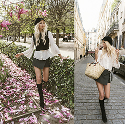Sarah Loven - Zara Black Vest, Zara Skirt, Zara White Shirt, Matisse Footwear Black Boots, Jc Millinery Black Hat, Paris Street Shop Basket - Spring at palais royal